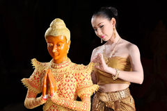 Thai model and wax statue Stock Photography