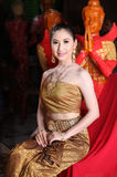 Thai model and wax statue Stock Photo