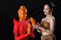 Thai model and wax statue Stock Images