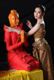 Thai model and wax statue Royalty Free Stock Photos