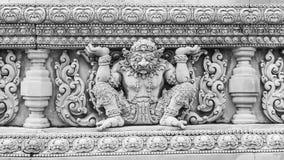 Thai molding art. Black and white image. Thai molding art on the wall at temple. Black and white image Royalty Free Stock Photos