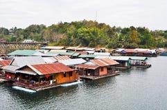 Thai Mon Floating village. On the River in Sangkraburi Kanchanaburi Province Border of Thailand and Myanmar in The Morning Stock Image