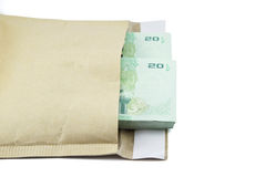 Thai money in bag on white background. Banknote Stock Photography