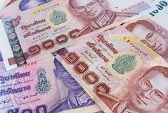 Thai money banknotes background Royalty Free Stock Image