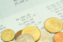 Thai money bath on Saving Account Passbook. Close up Thai money bath on Saving Account Passbook Royalty Free Stock Image