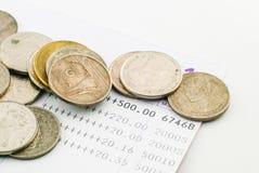 Thai money bath and Saving Account Passbook. Image Stock Photo