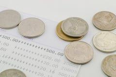 Thai money bath and Saving Account Passbook. Image Royalty Free Stock Photos