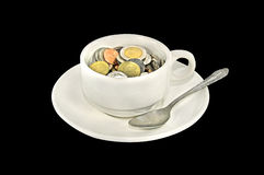 Thai money coins in a coffee cup Royalty Free Stock Photos