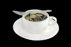 Thai money coins in a coffee cup Royalty Free Stock Photo