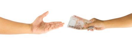 Thai money in hand Stock Images