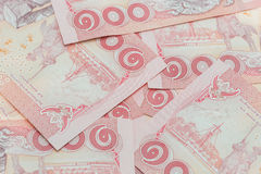 Thai money in one hundred type banknotes Royalty Free Stock Photo