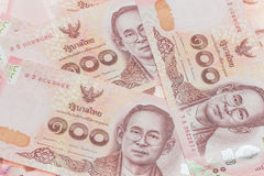 Thai money in one hundred type banknotes Royalty Free Stock Images