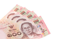 Thai money in one hundred type banknotes Royalty Free Stock Image