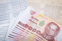 Thai money and two Saving Account Passbook Stock Images