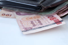 Thai money in wallet Stock Image