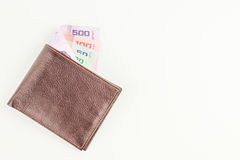 Thai money and wallet. Royalty Free Stock Images