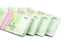 Thai money on white background. Banknote Stock Images