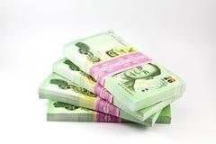 Thai money on white background. Banknote, stack of Thai money Stock Image