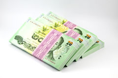Thai money on white background , banknote. Stack of Thai money Royalty Free Stock Images