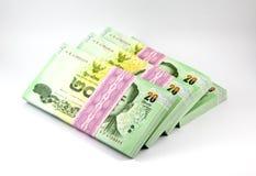 Thai money on white background , banknote. Stack of Thai money Stock Photos