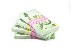 Thai money on white background. Stack of Royalty Free Stock Photography