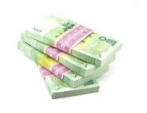 Thai money on white background. Stack of Stock Photography