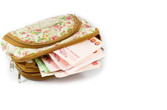 Thai money in woman wallet. Stock Image