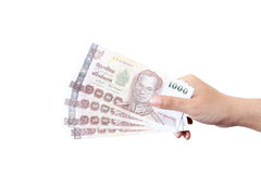 Thai money  in your hand. Royalty Free Stock Photography