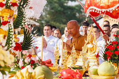 Thai monk chant for ceremony in wat huay mongkhon. HUAHIN, THAILAND - DECEMBER 27, 2014 – Thai monk chant for ceremony in wat huay mongkhon celebration Royalty Free Stock Photos