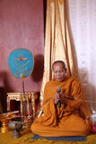 Thai monk chanting Royalty Free Stock Photo
