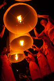 Thai monk floating lamp . Stock Photography