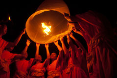 Thai monk floating lamp . Stock Photos
