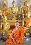 Thai monk meditation in the temple Stock Photos