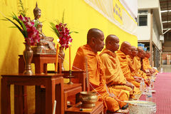 Thai monk Prayer and blessing to the people. Royalty Free Stock Photos
