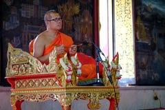 Thai monk preaching Royalty Free Stock Photography