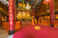 Thai monk worship in Chinese temple Royalty Free Stock Photography