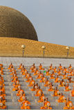 Thai monks during Buddhist ceremony Magha Puja Day in Wat Phra Dhammakaya in Bangkok, Thailand Stock Photos