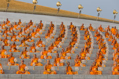 Thai monks during Buddhist ceremony Magha Puja Day in Wat Phra Dhammakaya in Bangkok, Thailand Stock Images