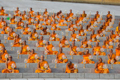 Thai monks during Buddhist ceremony Magha Puja Day in Wat Phra Dhammakaya in Bangkok, Thailand Royalty Free Stock Photography