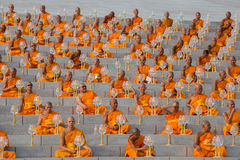 Thai monks during Buddhist ceremony Magha Puja Day in Wat Phra Dhammakaya in Bangkok, Thailand Royalty Free Stock Images