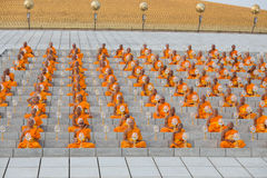 Thai monks during Buddhist ceremony Magha Puja Day in Wat Phra Dhammakaya in Bangkok, Thailand Royalty Free Stock Photos