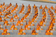 Thai monks during Buddhist ceremony Magha Puja Day in Wat Phra Dhammakaya in Bangkok, Thailand Stock Image