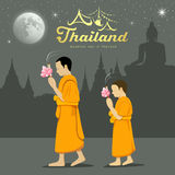 Thai Monks and novice in Buddhist light waving rite. Sabbath in Thailand, Vector illustration Stock Photography