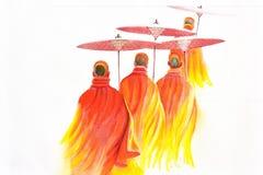 Thai Monks On White Background Stock Photography