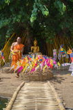 Thai monks in Phantao temple in Songkran Festival Royalty Free Stock Photo