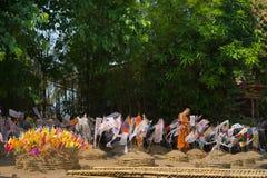 Thai monks in Phantao temple in Songkran Festival. CHIANGMAI, THAILAND - APRIL 15: Thai monks in Phantao temple in Songkran Festival 2015 on April 15, 2015 in Stock Image