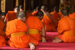 Thai monks praying Stock Photography
