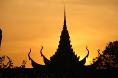 Thai monument. Roof of Thai monument bathing in sunset Royalty Free Stock Photography