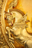 Thai moral art,horse on temple door. Stock Photography
