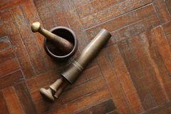 Thai mortar. Are traditional or ancient equipment made from brass Royalty Free Stock Photo